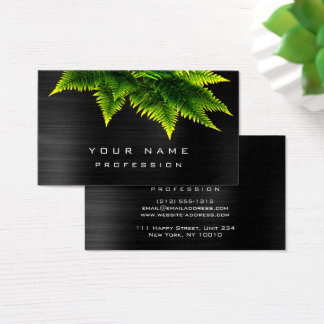 Green Economy Fern Organic Burgundy Metallic Black Business Card