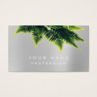 Green Economy Fern Organic Silver Gray White Business Card