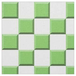 Green Edge Illusion Checkerboard Fabric