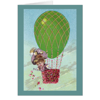 Green Egg Balloon and Lady in Gondola Vintage Card