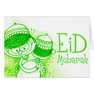 Green Eid Mubarak Sketch Greeting Card