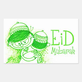 Green Eid Mubarak Sketch Rectangular Sticker