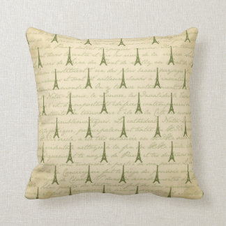 Green Eiffel Tower Paris Throw Pillow