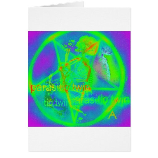 Green Electric Penatgram Greeting Cards