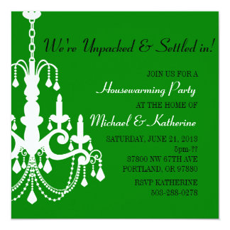 Green Elegant Chandelier Housewarming Invitation