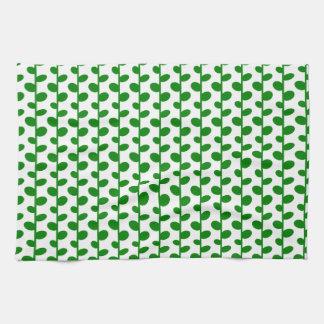 Green Elegant Modern Chic Leaf Pattern Kitchen Towel