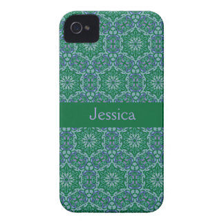 Green Elegant Pattern Blackberry Bold name case iPhone 4 Cases