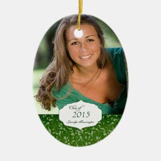 Green elegant pattern graduation photo ornament
