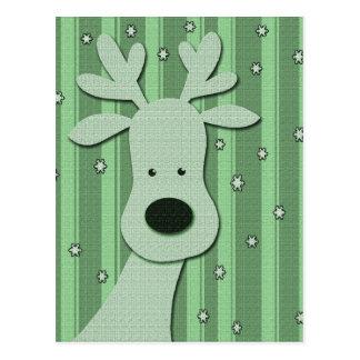 Green elegant reindeer postcard