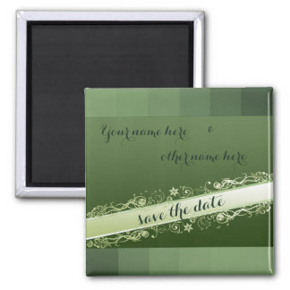 Green elegant save the date magnet