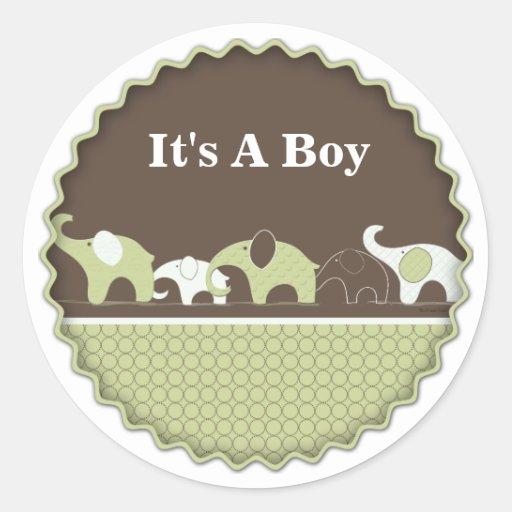 Green Elephant Baby Stickers