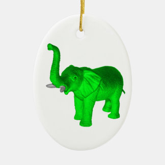 Green Elephant Ceramic Ornament