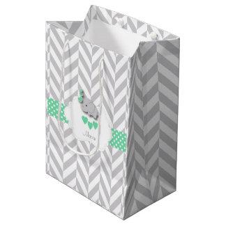 Green Elephant Design - Baby Shower Medium Gift Bag