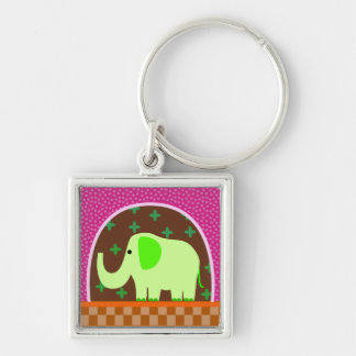 Green  Elephant Silver-Colored Square Key Ring