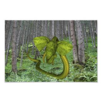 Green Elephant Snake Photo Print