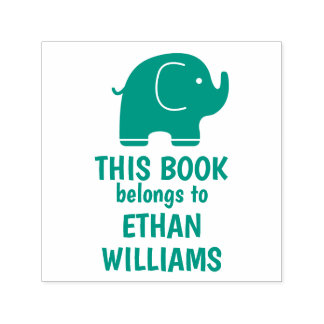 Green Elephant Stamp This Book Belongs To