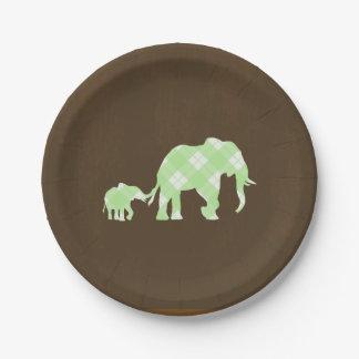 Green Elephants Brown Trendy Modern Baby Shower Paper Plate