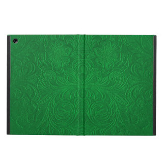 Green Embossed Floral Design Suede Leather Look iPad Air Covers