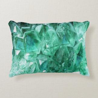 Green emerald gem stone mineral decorative cushion