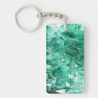 Green emerald gem stone mineral Double-Sided rectangular acrylic key ring