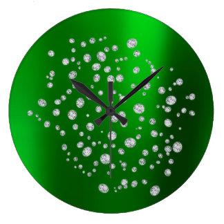 Green Emerald Green Gold Diamond Swarovski Crystal Large Clock