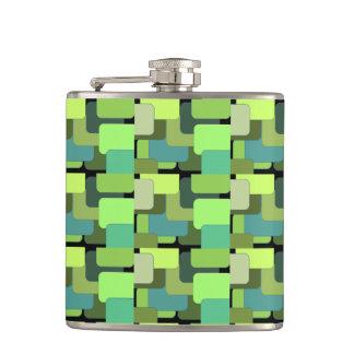 Green Emerald Lime Jade Modern Abstract Hip Flask