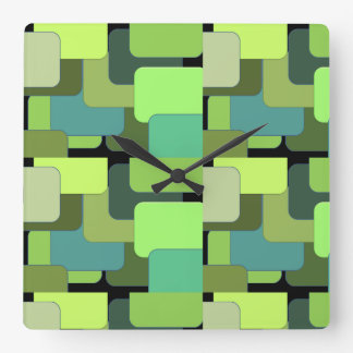 Green Emerald Lime Jade Modern Abstract Square Wall Clock