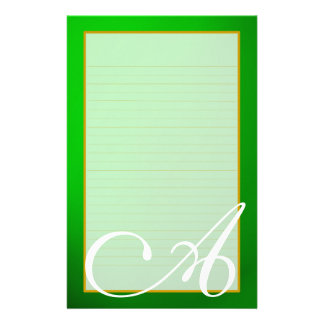 Green Emerald Monogram Fine Lined Stationery Personalized Stationery