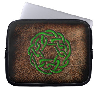 Green enamel celtic knot on geniune leather computer sleeve