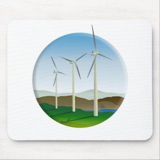Green Energy Wind Turbine Mouse Pad
