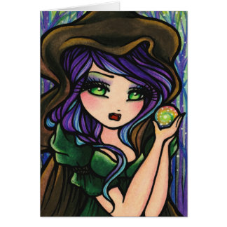 Green Envy Magic Forest Fantasy Girl Card