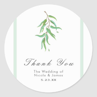Green Eucalyptus Botanical Leaves Rustic Wedding Classic Round Sticker