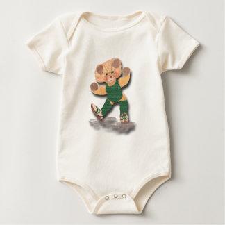 Green Exercise Teddy Bear Infant Organic Creeper