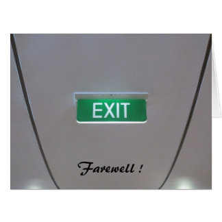 green exit farewell big card