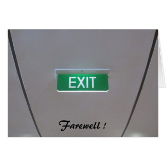 green exit farewell greeting cards