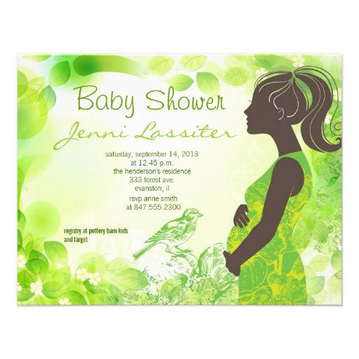green expectant woman baby shower invitation