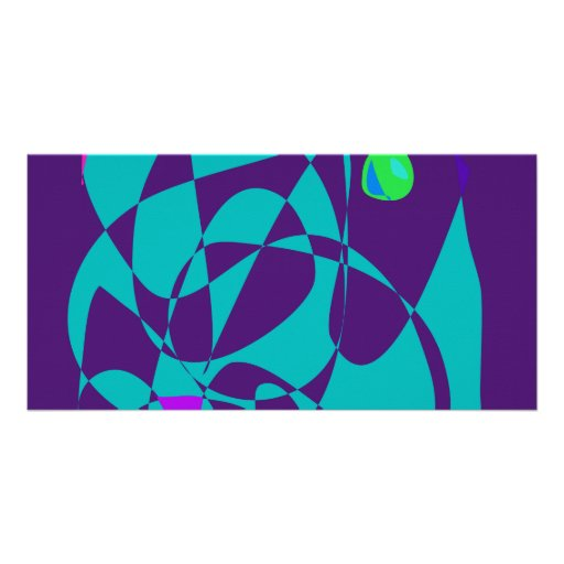 Green Eye Dark Purple Photo Card Template