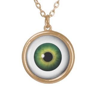Green Eyeball Iris Eye Fun Cool Round Necklace