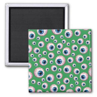 Green eyeball pattern refrigerator magnets