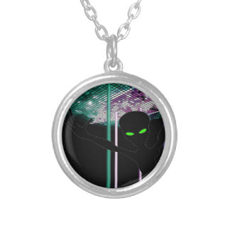 Green Eyed Alien on Space Dance Floor Silver Plated Necklace