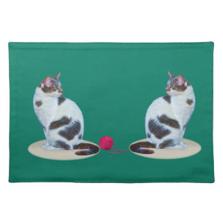 Green-eyed Black and White Cat  Placemats