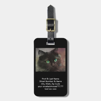 Green Eyed Black Cat Bag Tag