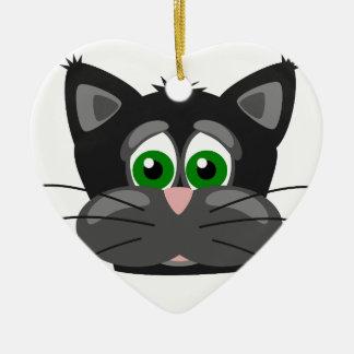 Green-eyed black Cat Ceramic Ornament