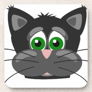 Green-eyed black Cat Coaster