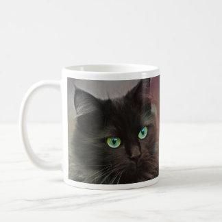 Green Eyed Black Cat Coffee Mug