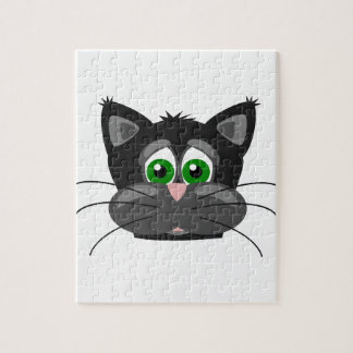 Green-eyed black Cat Jigsaw Puzzle