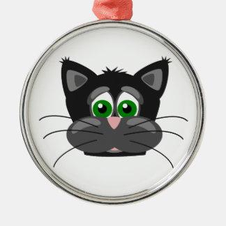 Green-eyed black Cat Metal Ornament