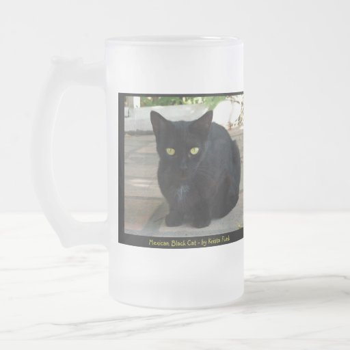 Green Eyed Black Cat Coffee Mugs