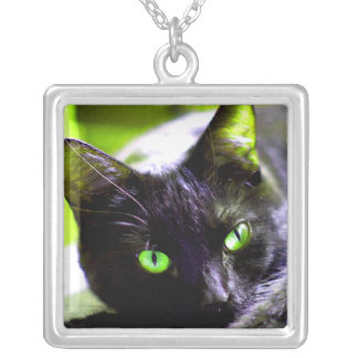 Green Eyed Black Cat Necklace