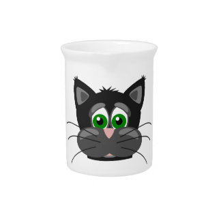 Green-eyed black Cat Pitcher